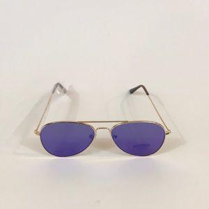 Accessories - Flat Gold Frame Mirrored Aviator Sunglasses